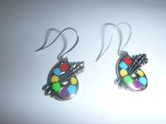 cute ARTIST paint palette earrings--sweet, simple, colorful enamel on silver plate with French wire closures...good quality for reasonable price! $12.99   pauli beverly hills on eBay