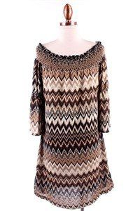 chevron off the shoulder dress