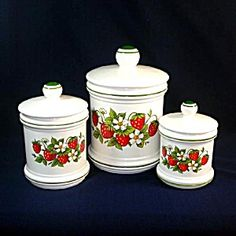 Set 3 Strawberries Ceramic Kitchen Canisters