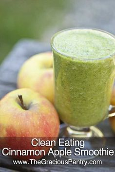 Clean Eating Cinnamon Apple Smoothie  Clean Eating Cinnamon Apple Smoothie   (Makes 2 cups)     Ingredients   1 cup chopped, sweet apple (I love pink lady apples for this)   1 cup raw spinach   1 cup unsweetened almond milk   1/2 tsp. ground cinnamon