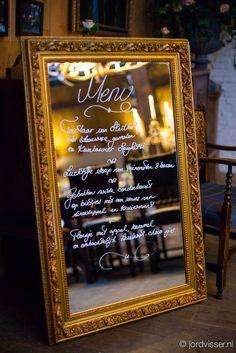 menu on large mirror
