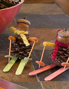 Pinecone Skier - easy craft- for all the pinecones I have to use!