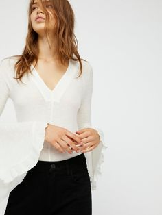 Intimately Light Ivory Soo Dramatic Long Sleeve Top at Free People Clothing Boutique