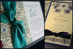 Wedding Cards With Peacock Feathers Design And Ribbon. #Wedding #WomenTriangle www.womentriangle.com