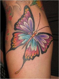 Very colorful butterfly tattoo designs