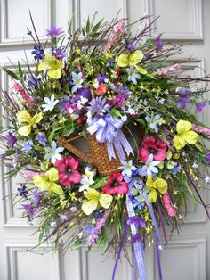 Spring Summer Easter Twig Floral Door Wreath - Holiday - Home Decor -