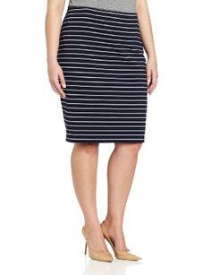 Vince Camuto Women's Plus-Size Stripe Pencil Skirt