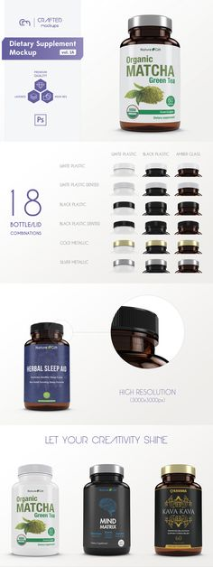 Dietary supplement bottle mockup / amber bottle mockup / silver lid / gold lid / psd mockup / packaging mockup / packaging design / label design | By Crafted Mockups on @Creative Market