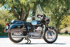 """In 1974 John Moraga was on patrol when a pink 1959 Cadillac pulled out in front of him and sped away. Moraga hit the siren and was somewhere north of 100mph in chase when his Moto Guzzi Eldorado went into a wobble that wrenched the handlebars from his grip and sent him sliding 317 feet along the pavement. So what's his assessment of the bike that could have ended his life? """"I sure liked it,"""" he says. """"... I just wish I hadn't had such bad luck with it."""" (Read more at motorcycleclassics.com)"""