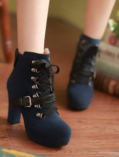 f32e8a7d440 Womens Lace Up Ankle Strap Boots High Heel Platform Chunky Motorcycle Shoes  Size