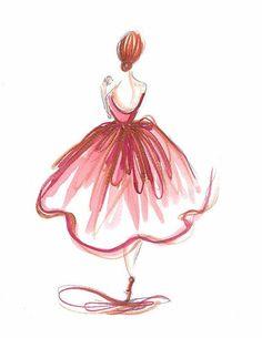 Ballerina print Ballerina art Nursery art by DorinusIllustrations