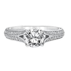 Vintage inspired diamond engagement ring with milgrain detailed split shank and surprise diamond under the center stone, Style: Zelma 31-V620ERW, #ArtCarvedBridal, #ArtCarvedPinterest