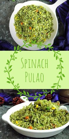 Spinach Pulao Recipe how to make palak pulao recipe spinach rice easy healthy lunch box recipes Vegetarian Tastebuds indian vegetarian recipes veg recipes Lunch Recipes Indian, Lunch Box Recipes, Easy Indian Vegetarian Recipes, Sushi Recipes, Snacks Recipes, Chinese Recipes, Noodle Recipes, Curry Recipes, Recipes Dinner