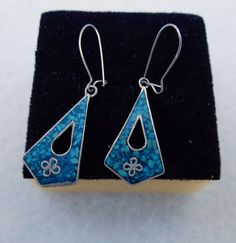 15% OFF !! Vintage blue silver sterling earrings- Mexico by Framarines on Etsy