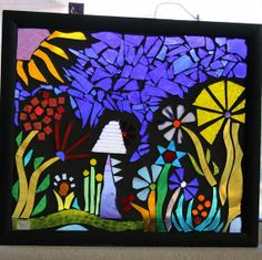 Summer flowers, glass on glass,  mosaic,  whimsical, hand made