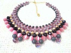 Maxi colar entrelaçado com cristais.  #handmade #craft #biju