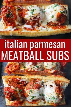 Meatball Sub Casserole, Beef Meatball Recipe, Meatball Subs, Meatball Marinara Sub, Healthy Meatballs, Parmesan Meatballs, Crock Pot Meatballs, Italian Recipes, Beef Recipes