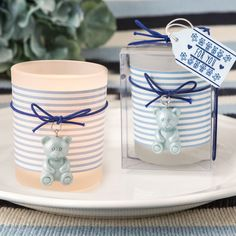 Teddy Themed Votive Candle Favour Blue