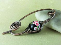Shawl Pin or Scarf Pin Copper Brooch Fibula Wire Wrapped Jewelry Glass Lampwork Bead Flower Brooch