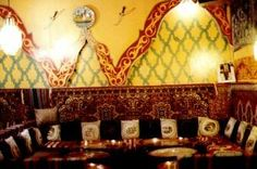 Casablanca Morrocan  - I like how the seating wraps around the walls & the decor height varies. Intimate seating and eye candy decor - I'd use diff colors