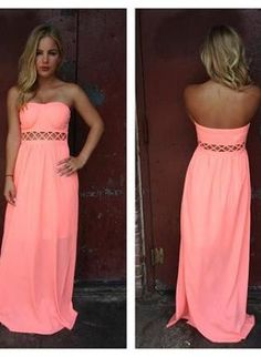 Neon Coral Strapless Maxi Dress with Open Weave Detail, Dress, strapless dress cutout maxi dress, Bohemian (Boho) / Hippie