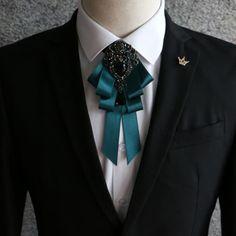 Diamantes de imitación de cristal colgante boda Negro Hombre Pre Atado Pajarita Corbata