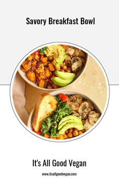 I wanted to share one of my go-to brunch meals with you, just in case you are looking for one this weekend! This nourishing and filling Savory Breakfast Bowl. Filled with roasted sweet potatoes, seasoned chickpeas, avocado, mushrooms, kale and toast. It's savory, flavorful, and satisfying. Healthy Vegan Breakfast, Savory Breakfast, Breakfast Bowls, Quick Easy Healthy Meals, Healthy Eats, Clean Recipes, Real Food Recipes, Tasty Pancakes, Roasted Sweet Potatoes