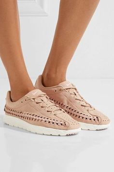 Nike - Mayfly Woven Faux Leather-trimmed Faux Suede Sneakers - Sand - US10.5