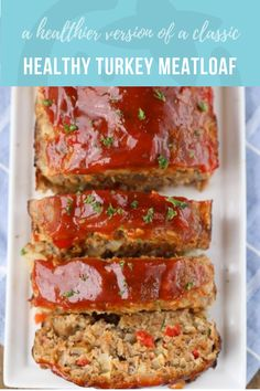 Healthy Turkey Meatloaf - Super Healthy Kids - - A childhood classic just got healthier! This Turkey Meatloaf is packed with veggies and topped with a sweet sauce. Tasty Potato Recipes, Healthy Recipes, Healthy Drinks, Healthy Eating, Healthy Meatloaf Recipes, Healthy Meals, Healthy Dishes, Healthy Turkey Meatloaf, Ground Turkey Meatloaf