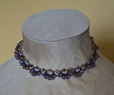 Bead Weaving Necklace in Blue/Beige/Black - Handmade