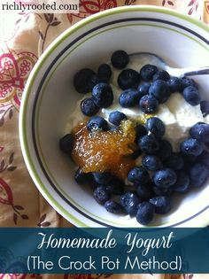 Homemade #Yogurt (the crock pot method is so easy! Make a big batch and save lots of money off of storebought yogurts!) - RichlyRooted.com