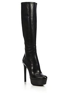 a5c30eeebb2 Prada - Leather Knee-High Platform Boots  1