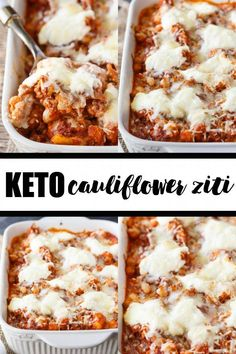 Keto Cauliflower Ziti - Enjoy all the flavours of hearty Italian meal without the carbs! This keto casserole is meaty and cheesy. Enjoy all the flavours of hearty Italian meal without the carbs! This keto casserole is meaty and cheesy. Ketogenic Recipes, Low Carb Recipes, Diet Recipes, Cooking Recipes, Healthy Recipes, Dessert Recipes, Lunch Recipes, Diet Meals, Smoothie Recipes