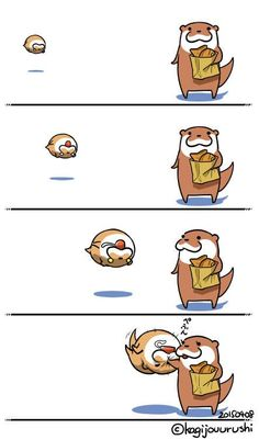 Cute Baby Animals, Funny Animals, Otter Cartoon, Otter Love, Cartoon Design, Cute Gif, Otters, Funny Comics, Cute Drawings