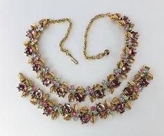 Vintage signed ART Rhinestone necklace bracelet Set.