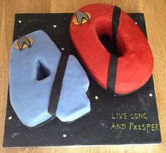 Star Trek 40th Birthday Cake. I cut the numbers out by hand as I didn't have the…