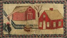 Wool and Cotton Pictorial Hooked Rug ...~♥~