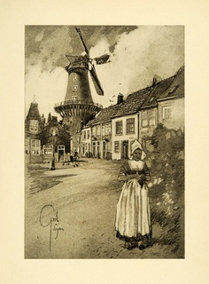 Street scene in Leyden, Nl.  A page from a book, sold for $42 on eBay.