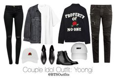 """""""Couple Idol Outfit: Yoongi"""" by btsoutfits ❤ liked on Polyvore featuring High Heels Suicide, Y/Project, J Brand and Balmain"""