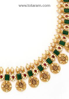 "22 Karat Gold ""Lakshmi Kasu"" Mala / Kasulaperu Long Necklace with Cz , Color Stones & Japanese Pearls (Temple Jewellery) Gold Necklace Simple, Gold Jewelry Simple, Gold Bangles Design, Gold Jewellery Design, Selling Jewelry, Jewelry Stores, Gold Temple Jewellery, Pearl Necklace Designs, Japanese Pearls"