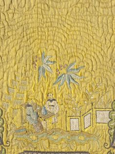 Detail petticoat, Italy, 1725-1760. Yellow silk satin, quilted, with silk and metallic-thread embroidery, Chinoisery design.