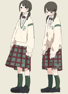 Different Art Styles, Cute Art Styles, Cartoon Art Styles, Anime Art Girl, Manga Art, Anime Uniform, Character Design References, Art Reference Poses, Anime Outfits
