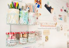 My Craft Room Tour - painted shower caddy turned craft room storage