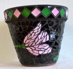 Mosaic Flower Pot - Madison Cwick, 17 - Lake View H. Mosaic Planters, Mosaic Vase, Mosaic Flower Pots, Mosaic Diy, Mosaic Garden, Mosaic Crafts, Mosaic Projects, Stained Glass Projects, Mosaic Bottles