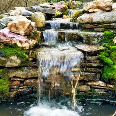 Waterfall created by Premier Ponds in Burtonsville, MD. #WaterfallWednesday