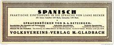 Original-Werbung/Anzeige 1924 - BECKER / BETZINGER : SPANISCH / VOLKSVEREINS-VERLAG MÖNCHENGLADBACH - ca. 180 x 65 mm