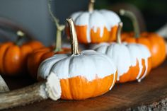 Primitive & Proper: Pumpkin Parade Day 1: White Dipped Pumpkins with Gilded Stems