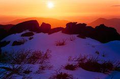 Mount Buffalo Sunset by Ern Mainka  Mount Buffalo sunset, Mount Buffalo NP, Victoria, Australia.  Nikon F3, Fuji Velvia.  © Ern Mainka