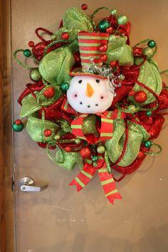 Snowman wreath-could use on yarn wreath too