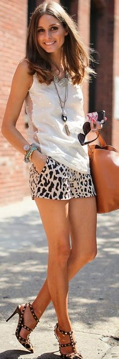 Love the Top , Animals Print Short and Studded Hee...